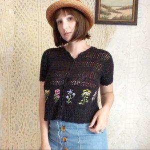 Vintage | black crochet button down top